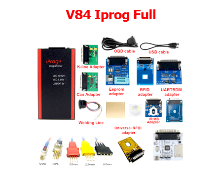 2020 V84 Iprog+ Pro Programmer Full Version Full Adpaters with Probes Adapters for in-circuit ECU