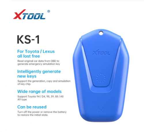 2020 New XTOOL KS-1 Blue Emulator for PS90 X100 PAD2 PAD3 PAD Elite A80 H6 All Lost via OBD2 KC100 Fit For Toyota Smart Key